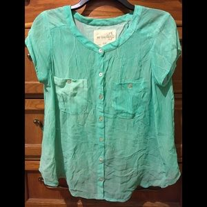 We The Free by Free People Green Sheer Blouse